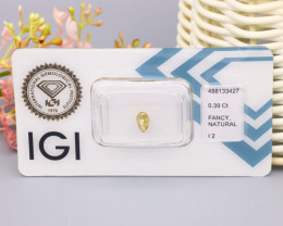 IGI Certified 0.39Ct Natural Fancy Light Brownish Yellow I2 Diamond B2111