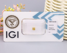 IGI Certified 0.33Ct Natural Fancy Light Brownish Yellow I2 Diamond B2103
