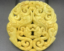 257.30 Cts Brilliant Hand Carving Yellow Jade.
