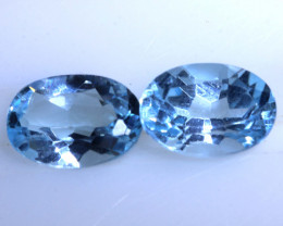 1.85 CTS BLUE TOPAZ NATURAL FACETED (2 PC)  PG-1262 PRESIOUSGEMS