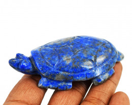 Genuine 345.00 Cts Lapis Lazuli Carved Turtle