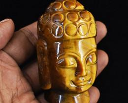 Genuine 275.00 Cts Tiger Eye Carved Buddha Head