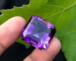52 carats natural Asscher cut amethyst gemstone