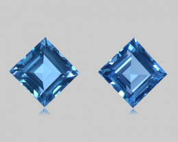 7.79Cts Sparkling Natural Swiss Blue Topaz Square Cut Matching Pair