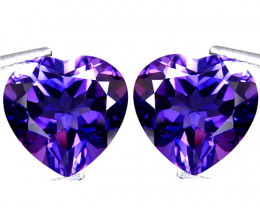 3.45Cts Unique Ultra Quality Natural Amethyst Heart Shape 8mm Pair p