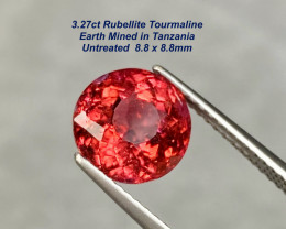3.27ct Rubellite Tourmaline - Unheated / Tanzania / 8.8mm