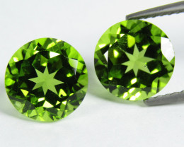 4.75Cts Genuine Excellent Natural Peridot 8mm Round Matching Pair REF VIDEO