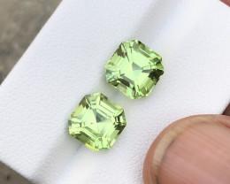 6.70 Carats Natural Peridot Cut Stones Pair from Pakistan