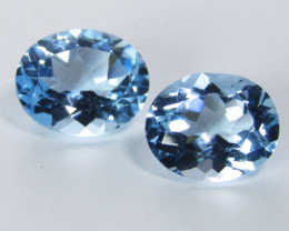12.55Cts Sparkling Natural Sky Swiss Blue Topaz Oval Matching Pair