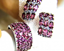 71.7 Tcw. Purple Garnet Ring and Earrings White Gold Plated - Gorgeous