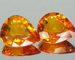 Yellow Orange Sapphire Pair 8.54Ct.