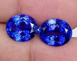 11.62 ct  $7000 Red Flash Unheated Blue Tanzanite Designer Pair