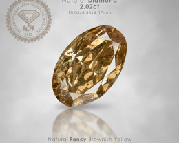 CERTIFIED IGI 2.02 ct Fancy Brown Yellow Loose Natural Diamond Oval 10.1x6.