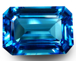 15.51Cts Sparkling Natural Swiss Blue Topaz Emerald Cut Loose Gemstone