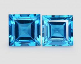 Topaz 4.54 Cts 2Pcs Rare Fancy London Blue Color Gemstone