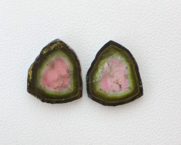 10.25 CT, Natural Watermelon Tourmaline Slices