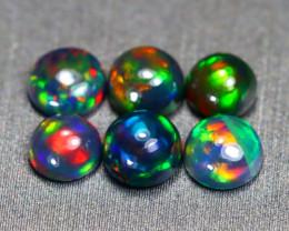 2.09Ct 6Pcs Natural Flash Color Ethiopian Welo Black Smoked Opal SE461