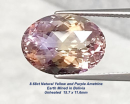 8.68ct VVS Untreated Yellow & Purple Ametrine - Bolivia / 15.7x11.6mm