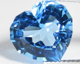 8.20Cts Sparkling Natural  Swiss Blue Topaz Heart Shape Custom Cut