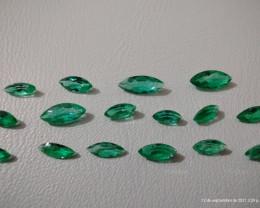 Beautiful Colombian Chivor Emerald marquese cut lot 3 ct