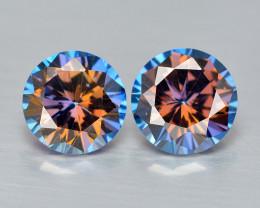 Azotic Topaz 3.03 Cts  2 Pcs Millennium Cut Multi-Color Natural Gemstones