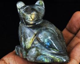 Genuine 645.00  Cts  Golden & Blue Flash Labradorite Carved Cat