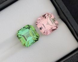 Perfect Asscher Cut Pair  8.35 Ct Natural Color Tourmaline