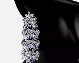 Stunning $1200 Natural 41.5tcw. Opal Tanzanite Citrine Earrings Unheated