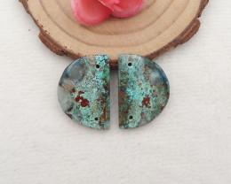 D2745 - 24.5cts Chrysocolla Earrings Bead Pair,Handmade Gemstones,Natural G