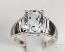 20tcw Sterling Silver Aquamarine Ring