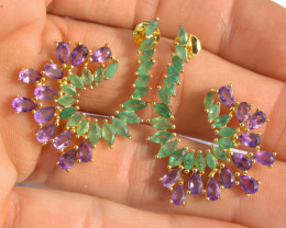 45.95 Tcw. Emerald / Amethyst 14K Gold Plated Earrings - Gorgeous