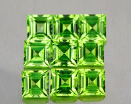 4.00 mm Square 9 pieces 2.85cts Green Peridot [VVS]