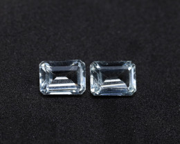 3.52tcw Natural Aquamarine/Goshenite Earring set
