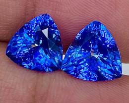 6.90 CT 10X10 MM $3000 Red Flash Unheated Blue Tanzanite Designer Pair