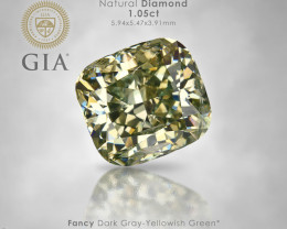 GIA Certified 1.05ct. Fancy Green* Loose Natural Diamond Cushion Affordable