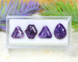 Charoite 13.69Ct 4Pcs Natural Violet Color Russian Charoite A1702