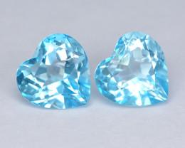 Mystic Topaz 2.88 Cts  2 Pcs Heart  Sea Blue Color Natural Gemstone