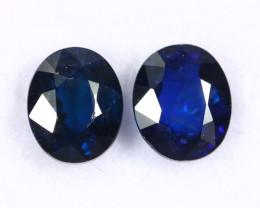 1.51cts Natural Dark Blue Sapphire Earring Pair  /CMA2514