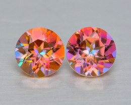 Mystic Topaz 1.12 Cts 2Pcs Rare Multi-Color Natural Gemstone - Pair