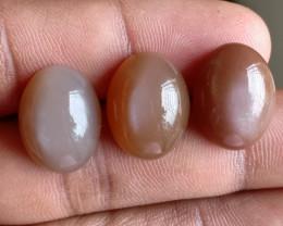 3 Pcs Moonstone Natural Gemstone Untreated Cabochon VA2013