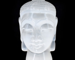 Genuine 3060.00  Cts  Selenite Carved Buddha Head