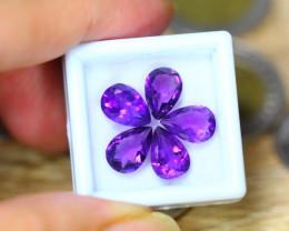 7.64ct Natural Purple Amethyst Pear Cut Lot LZ49