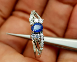 14.75Crt Blue Sapphire heat be 925 Silver Ring 9 Natural Gemstones JI80
