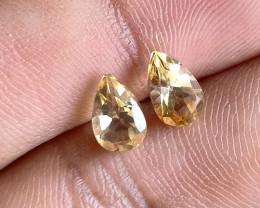 5x8mm Citrine Pair Natural Pear Faceted Gemstone VA2062
