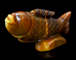 Genuine 615.00 Cts  Mookaite Carved Fish