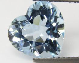 1.89Cts Genuine Natural Soft Blue Color Unheated Aquamarine Heart Shape