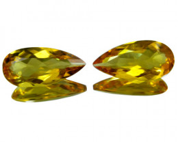 4.42Cts  Genuine Natural heliodor Yellow Beryl Pear Shape Matching Pair
