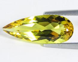 5.72Cts  Genuine Natural heliodor Yellow Beryl Pear Shape Loose Gemstone