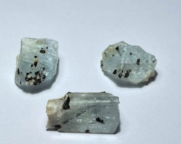 Amazing Natural color gemmy quality rough Aquamarine with Tourmaline lot 76