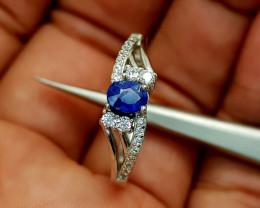 1.55Crt Blue Sapphire Heat be Ring 925 silver Natural Gemstones JI81